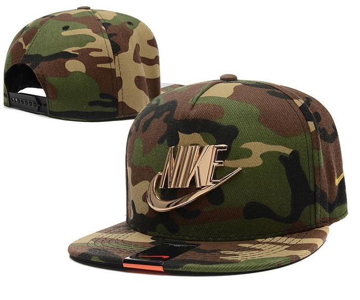 Mens Nike The Classic Nike Iron Gold Metal Logo A-Frame USA 2016 Best Quality Fashion Leisure Snapback Cap - Camo