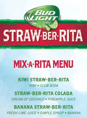 Kiwi Straw-Ber-Rita INGREDIENTS: 2 kiwi slices, plus one more for garnish 1 dash of club soda 1 cup of ice METHOD: Muddle 2 kiwi slices with a dash of club soda. Add ice and pour Straw-Ber-Rita. St...