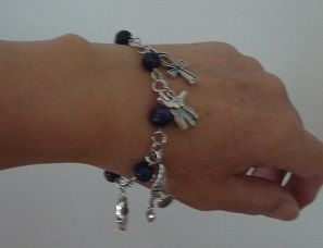 Egyptian charm bracelet - Genuine Lapis lazuli