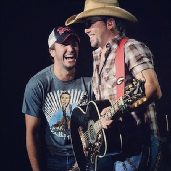 Luke Bryan & Jason Aldean - an awesome pair of Georgia boys! And look, Luke has on a Phillip Phillips shirt!!