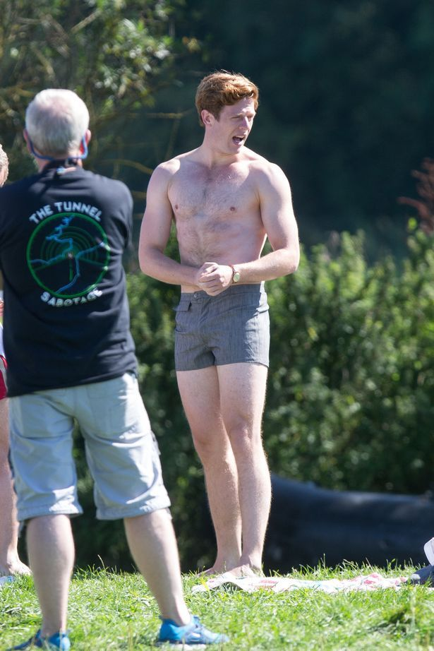 Picture shows James Norton (left) and Robson Green swimming in the River Cam in Grantchester,Cambs,on Thursday Sept 10th.