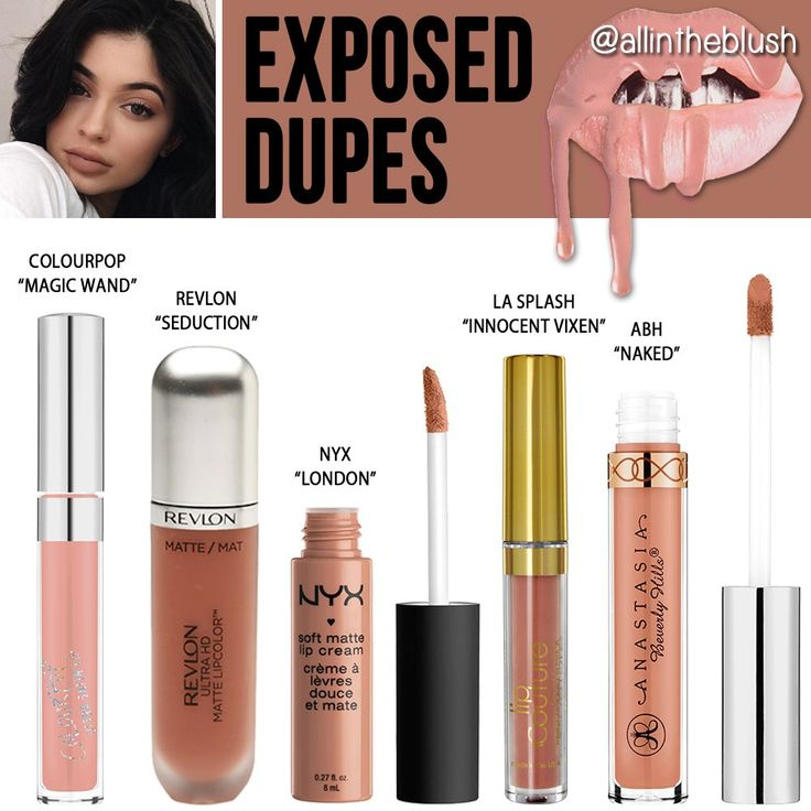 "Kylie's most recent lipkit shade is a classic beige nude called ""Exposed"". Because it's such a classic nude color, it wasn't that hard to find some alternative lipstic…"