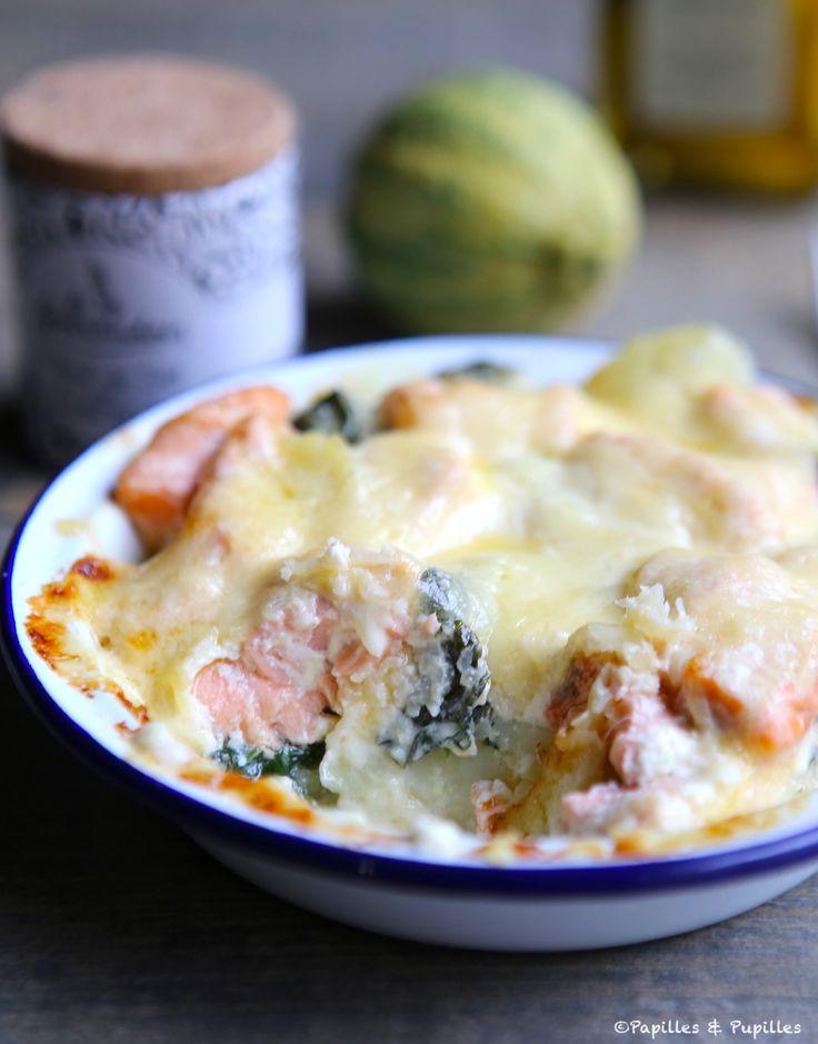 Gratin de saumon, épinards et pommes de terre »
