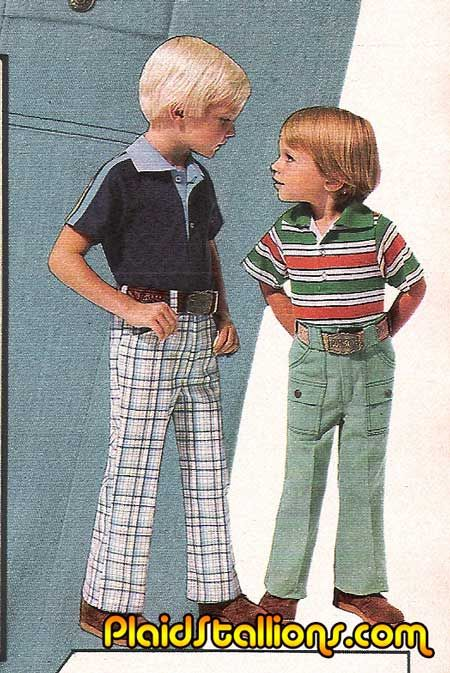 children also wore plaid pants mainly boys 1970s