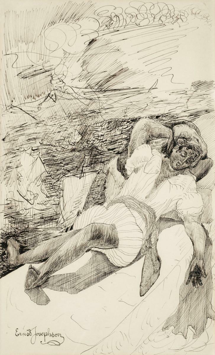 Ernst Josephson, 1851 – 1906 Italiensk yngling vid vulkan n.d. Penna och brunt bläck på papper 38.00 x 22.50 cm