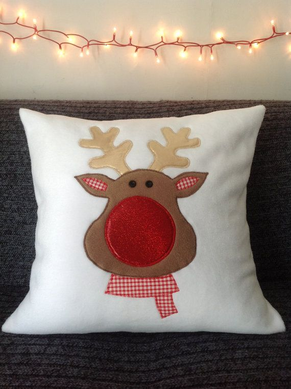 Sparkly Rudolph the reindeer pillow throw / by LittleQuests, $40.00
