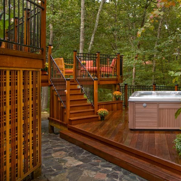 Designed And Built With Hardwood This Multilevel Deck With A Hot Tub Is An Outdoor Space You Ll