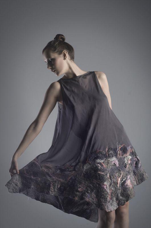 Платье шелковое-войлок - conceptshop.pl