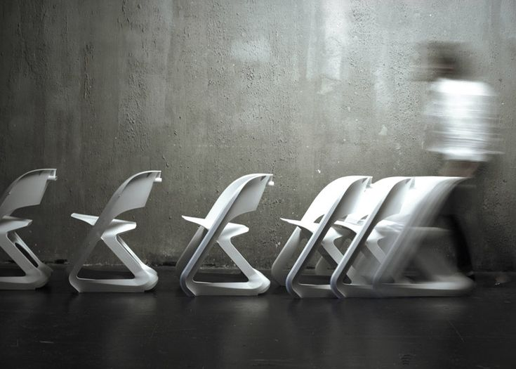 Centimeter Studio's Sleeed chairs slide together to stack horizontally