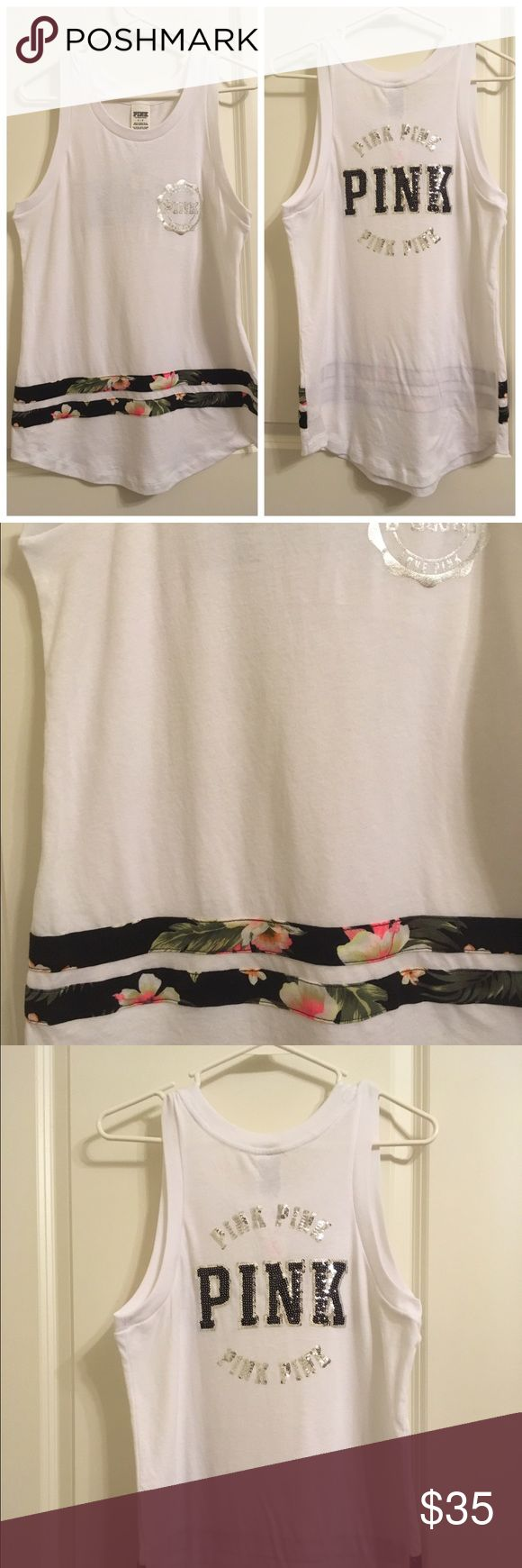 VS PINK Sequin Tank Top Victoria's Secret White Sequin Tank Top.                       PINK COLLECTION 😍                                                    🌸New with Tags!                                                          🌸Bundle to Save! PINK Victoria's Secret Tops Tank Tops