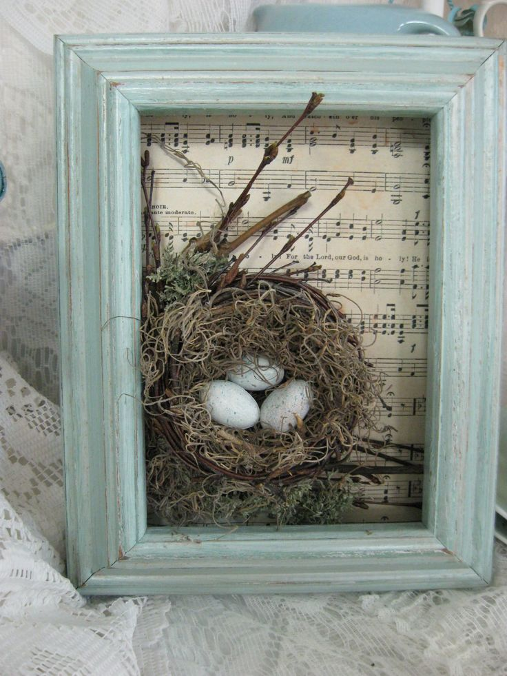 Shadow box/frame with sheet music background + twig/moss nest and eggs.