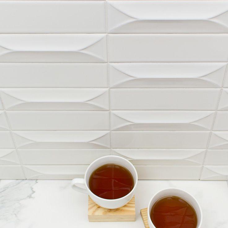 Byzantine Bianco 3D Ceramic Subway Tile  Upland atomic  Ceramic subway tile Tiles Kitchen tiles