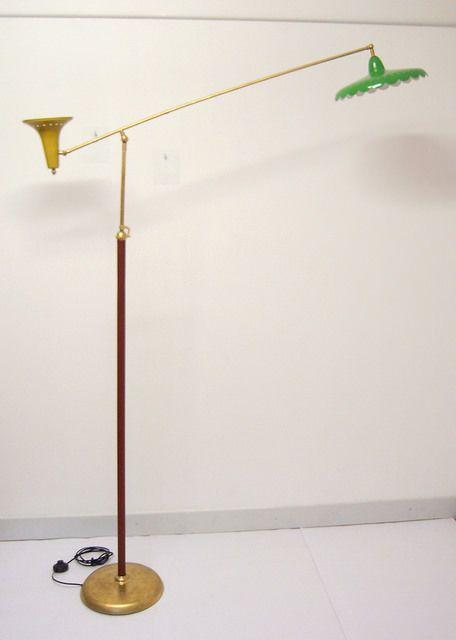 STILNOVO DESIGN-GRANDE LAMPADA ANNI 50 DOPPIO PUNTO LUCE REGOLABILE DA PAVIMENTO