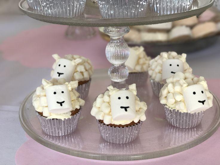 Cupcakes ovejas de mashmellow