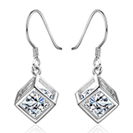 925Silver-cube-drop-earrings