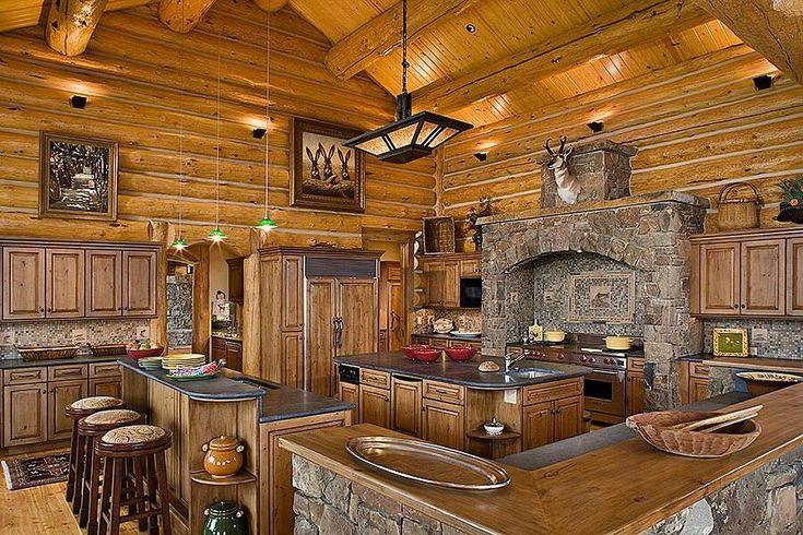 Huge log cabin in the woods with this large kitchen all i for Entertaining kitchen designs