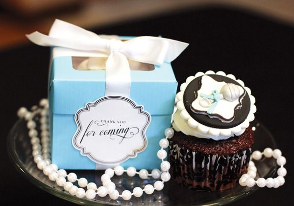 Glamorous Breakfast with Tiffany Baby Shower Silver Rattle Cupcake Topper by Fondant Flinger