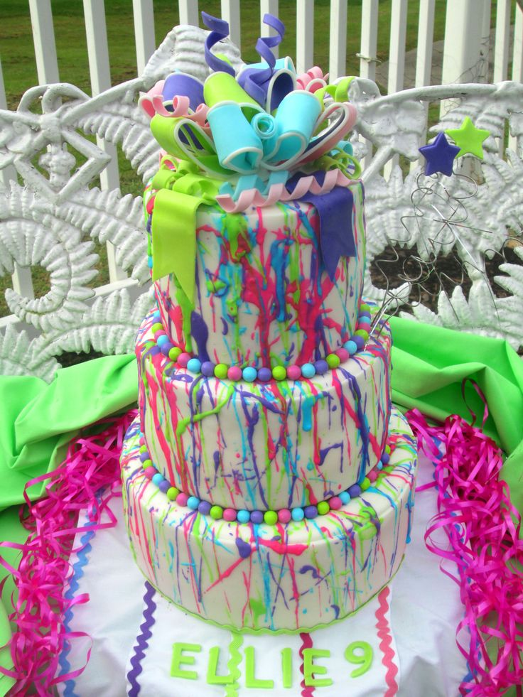 Splatter Cake For A Glow In The Dark Party My Cakes