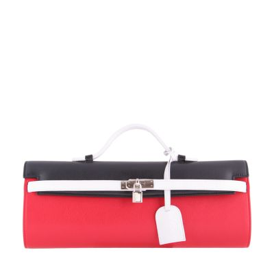 Red-black-white, leather clutch