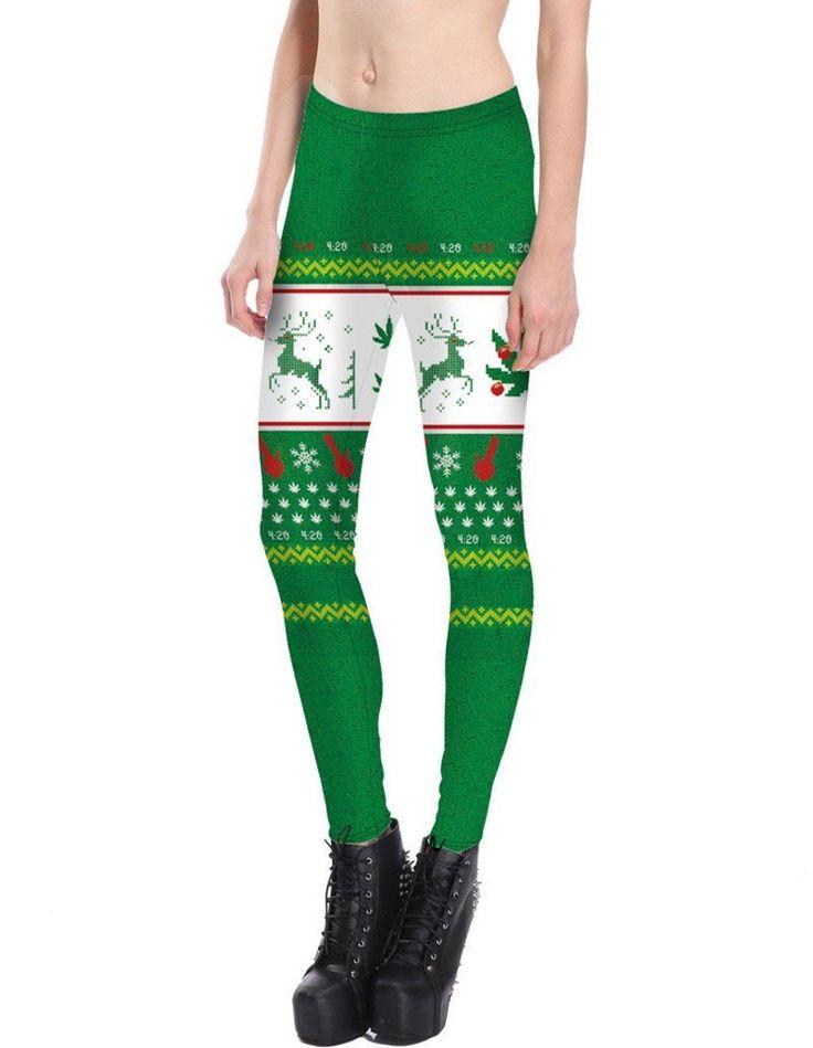 Reindeer Geo Print Green Christmas Tights Leggings