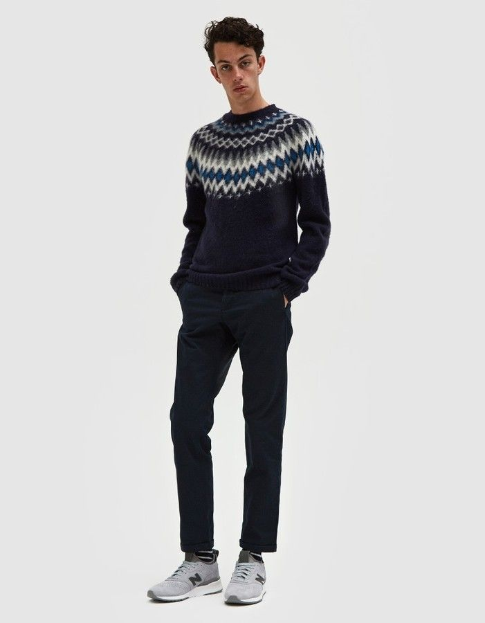 Norse Projects Birnir Fairisle Sweater in Navy