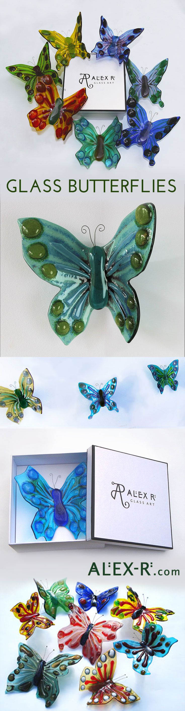 Glass Butterflies are unique three-dimensional artpieces for your wall. Mount a single standalone piece or create a fabulous wall installation in a kaleidoscope of colour. www.alex-r.com