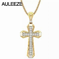 [ $21 OFF ] Class Cross Natural Diamond Pendant 14K Two Tone Gold Pendants For Men Yellow Gold White Gold Necklace Christian Jewelry Gift