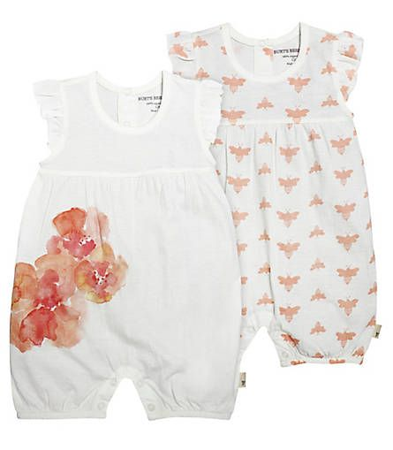 Set of 2 Bubble Shortalls: Color - Eggshell Burt's Bees baby bee