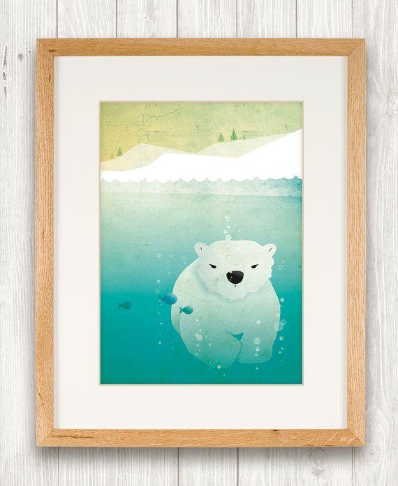 Polar bear underwater art print, nursery, illustration, animal art, kid's room decor, children art