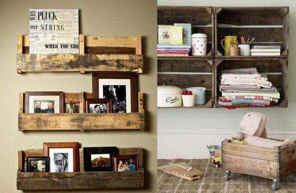 paletten möbel selbst basteln DIY ideen  bilderrahmen