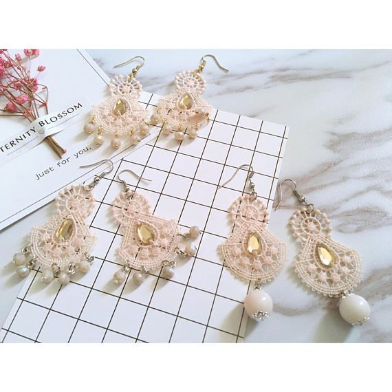 Handmade nude pink fan shaped lace earrings with glass beads