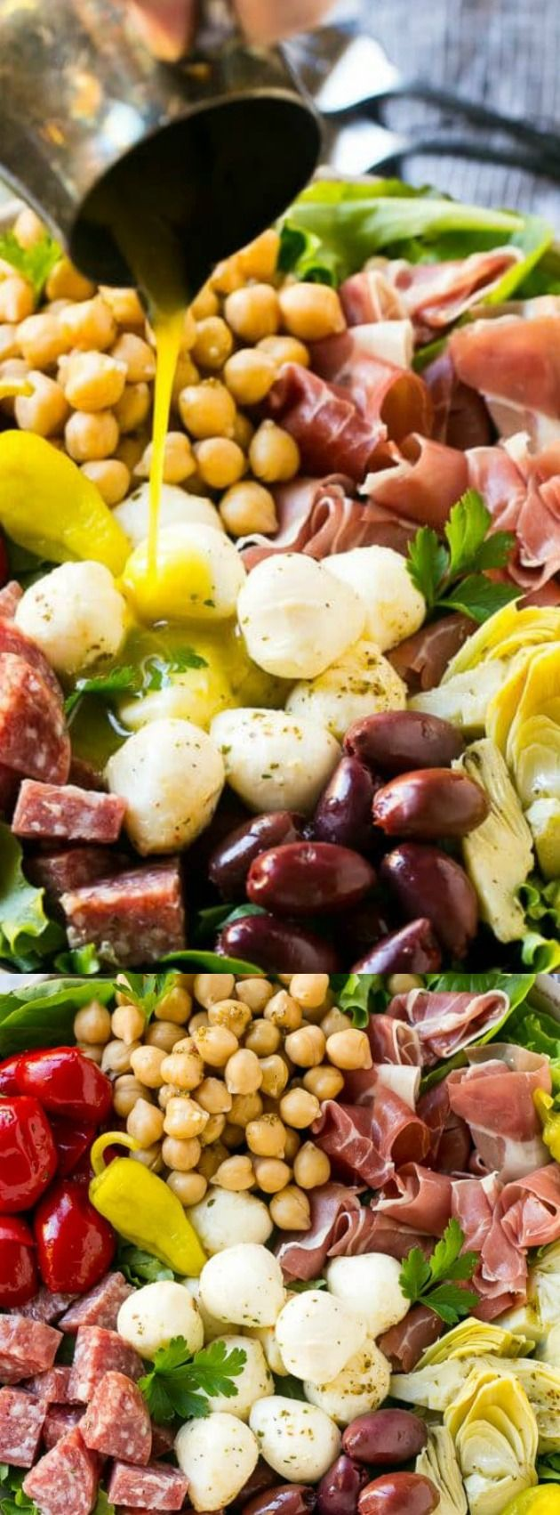 This Antipasto Salad from Dinner at the Zoo is salad perfection! Its loaded with flavorful Italian meats, creamy cheese, olives and veggies!