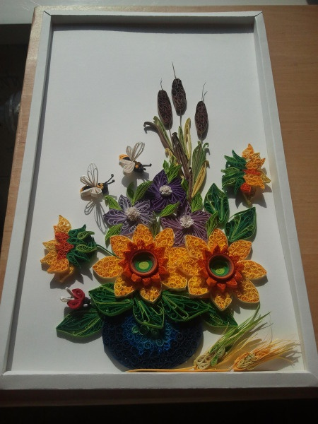 quilled flowers in a frame by aurelia eugenia more 3d quilling