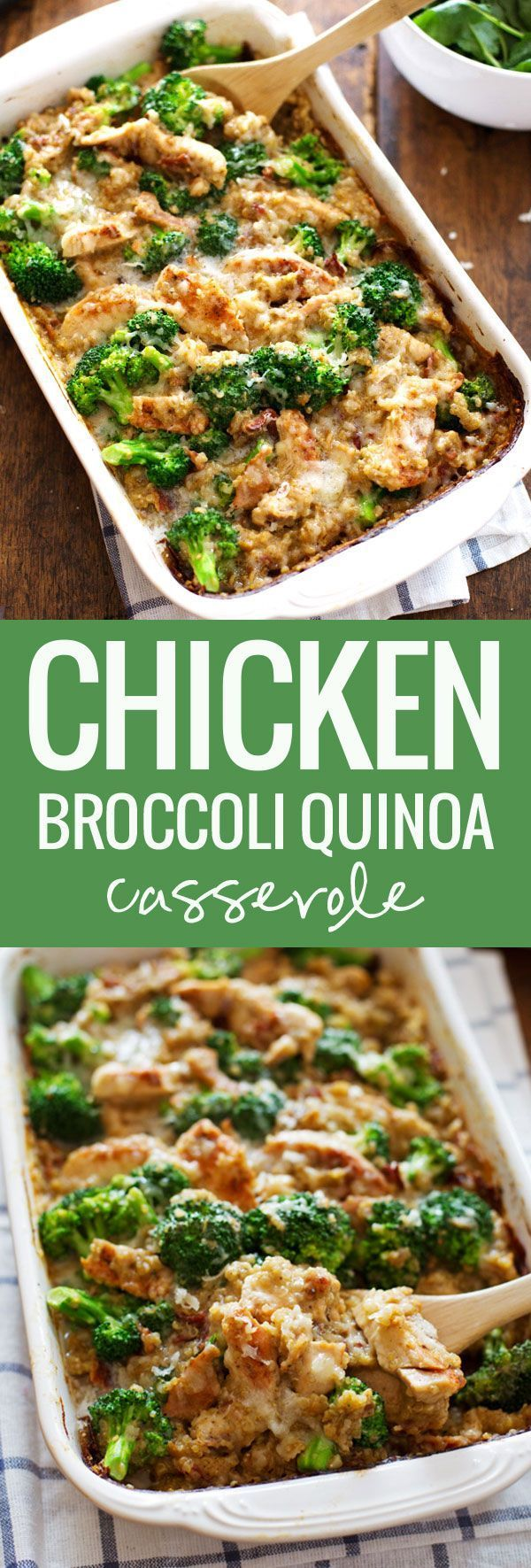 Creamy Chicken Quinoa and Broccoli Casserole - real food meets comfort food. From scratch, quick and easy, 350 calories.   pinchofyum.com