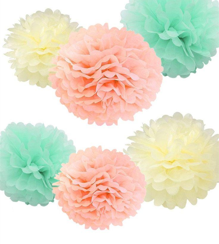 Fonder Mols 12PCS Mixed Ivory Peach Mint Tissue Pom Poms Paper Flower Wedding Bridal Shower Party Fluffy Decoration