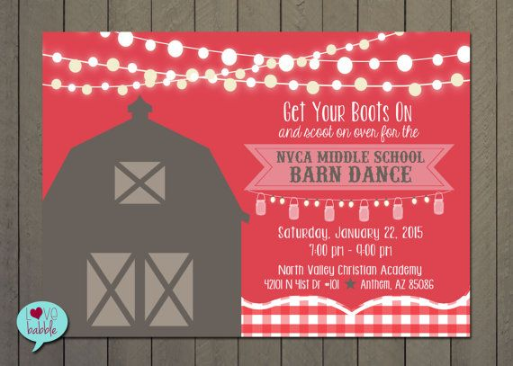Barn Dance, Hoe Down, Western dance, School Dance Invitation - PRINTABLE DIGITAL FILE 5x7