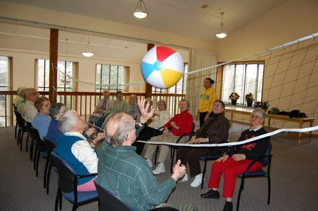 Residents of Creekside Village in Beaverton love it, and it gives them a gentle workout Joe Fitzgibbon/Special to The OregonianArt Lloyd, 87, and other residents take part in beach ball volleyball at Creekside Village in Beaverton. BEAVERTON -- Mary LaBelle,...