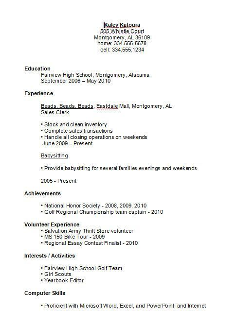 resume for high schooler
