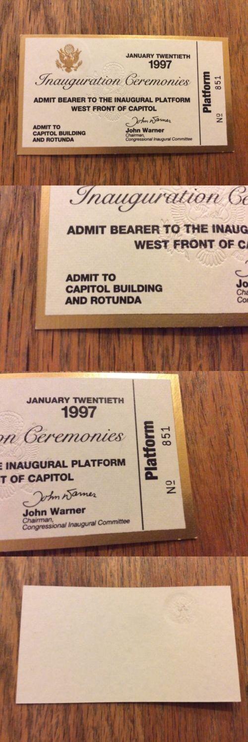 Bill Clinton: 1997 President Bill Clinton Inauguration Ticket Vip Platform Rotunda Pass BUY IT NOW ONLY: $29.95