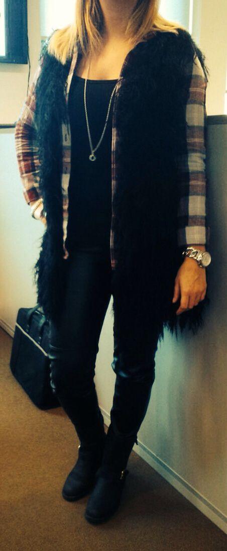 Lederen broek - houthakkers blouse - gilet