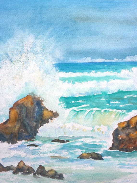 Ocean Waves Sea Squall - ORIGINAL Watercolor Painting Hand Painted by Carlin Blahnik ~ Not a print ~  SIZE - 11x14 Original Painting Easily fits 16x20 store bought frames with 10.5x13.5 mat window. Frame in photo is shown as an example only. Painting is sold unframed.  QUALITY - You get the unique Original Painting - Professional Artist Quality Watercolor Paints - Acid-free 140 lb 100% cotton fiber Watercolor paper Ensures enjoyment for generations, looking as fresh as the day it was…