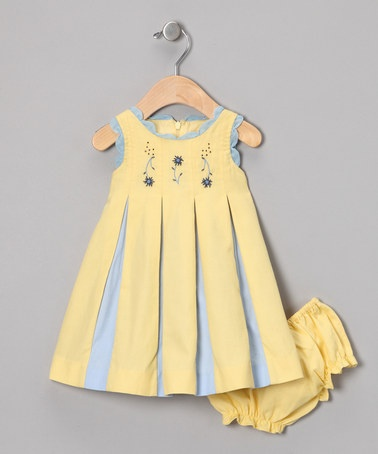 Take a look at this Yellow & Blue Wholly Pleated Dress & Diaper Cover - Infant by Periwinkle on #zulily today!