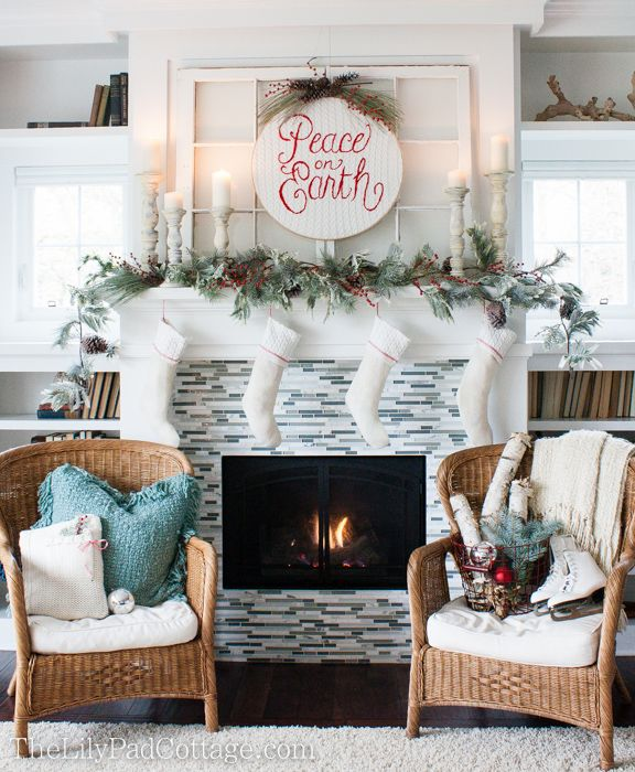 Wow such stunning white classic christma mantel! Sweater Christmas Decor via The Lilypad Cottage