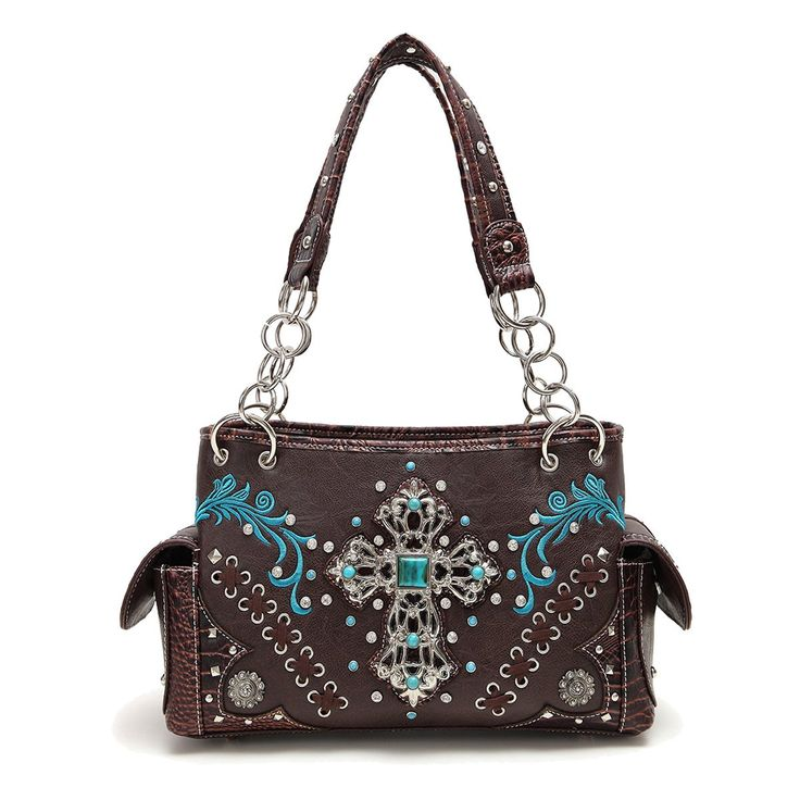 Western Turquoise Cross Shoulder Bag [TXQ8469-BROWN]