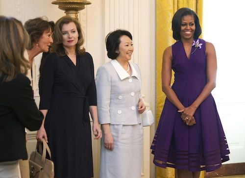 Michelle Obama G8 First Ladies -- wearing an Alexis Bittar made made of Lucite Lux®!