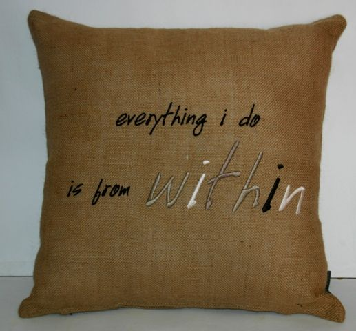 'Humility' embroidered hessian cushion 50 x 50cm. Available in natural (pictured) and chocolate.
