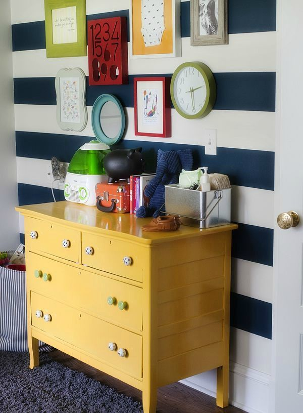 Love the idea of a painted stripe on wall where bed goes...wall so ...