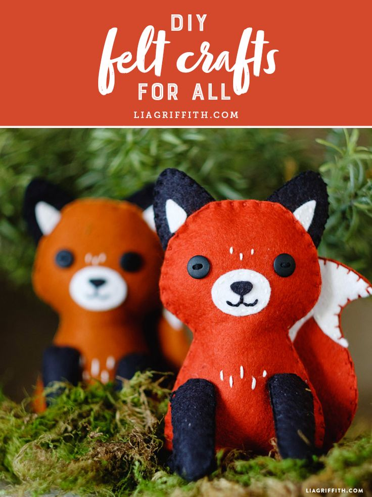 Simple to follow DIY Felt Crafts for everyone to make at home today! www.LiaGriffith.com #feltcrafts #feltstuffie #feltpattern #feltfox #feltdiy
