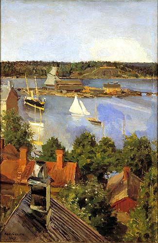 Akseli Gallen-Kallela 1891. Näkymä Pohjoisrannasta. Öljymaalaus