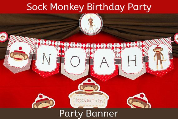 Sock Monkey Party Banner / Sock Monkey by UnlimitedPartyThemes